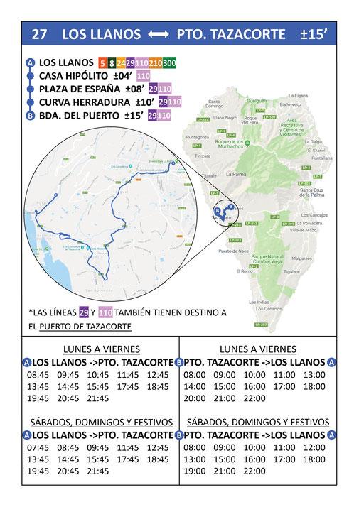 Busfahrplan Linie 27 | Los Llanos - Puerto Tazacorte