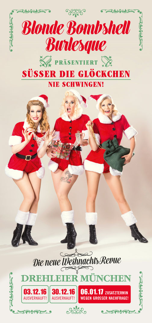 Blonde Bombshell Burlesque Weihnachts-Revue in München, Burlesque-Shows, Burlesque-Tänzerinnen
