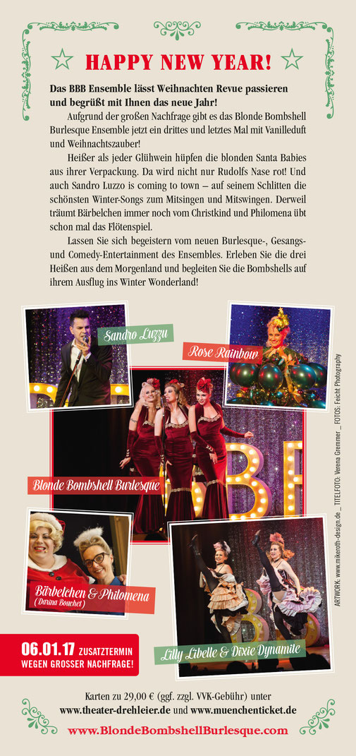 Blonde Bombshell Burlesque Weihnachts-Revue in München, Burlesque-Shows