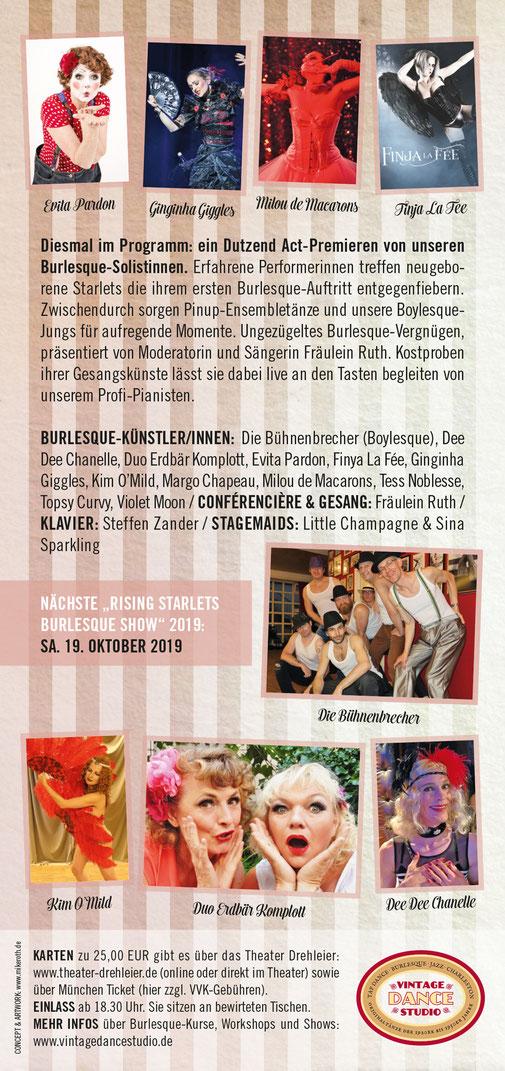 Burlesque-Show in München: Die Rising Starlets von Dixie Dynamite's School Of Burlesque zeigen ihr Können am Samstag 27. Oktober 2018 im Theater Drehleier.