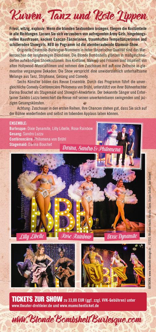 """Die Burlesque-Revue von Blonde Bombshell Burlesque: """"Kurven, Tanz und Rote Lippen"""" am 17.11.2017 in München im Theater Drehleier. Professionelle Burlesqueshow mit vielseitigen Burlesquetänzerinnen, buchbar mit Showeinlagen auch für Ihr Event!"""