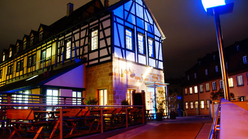 Restaurant Eckerts Bamberg - Außenansicht abends - fairani