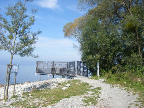 der Ausguck am neu gestalteten Ufer neben dem Strandbad Eriskirch
