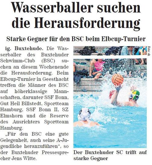Wasserballer suchen die Herausforderung. Neue Buxtehuder Wochenblatt vom 01.06.2013