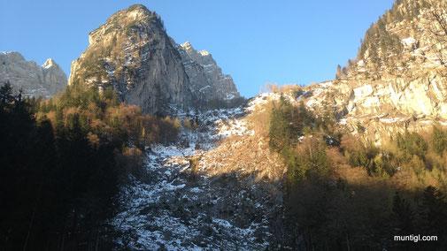 ab der Steilstufe gings per Ski weiter