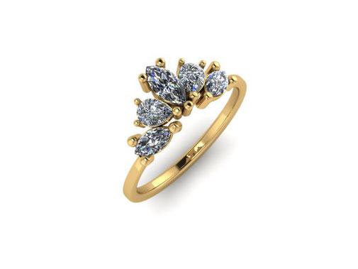 Emma Hedley Jewellery Engagament Ring Rose gold Aquamarine marquise cushion round