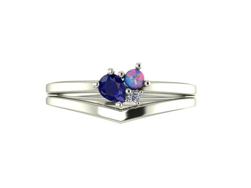 Midnight Cluster engagement ring with wishbone wedding ring Emma Hedley Jewellery