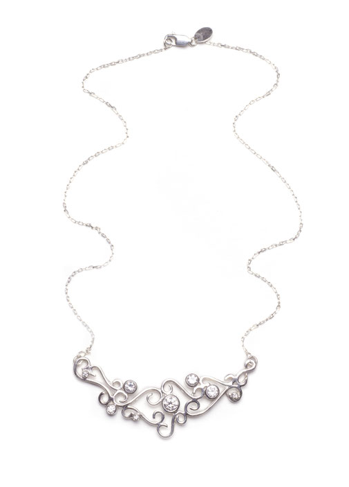 Enchanted Dream Hand Made 18ct white gold and Diamond swirl necklace