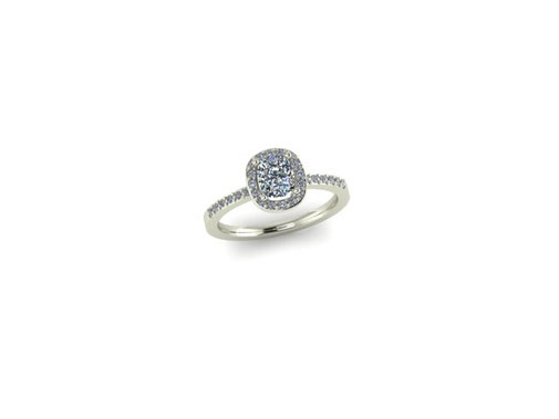 Emma Hedley Jewellery Cushion cut Diamond Halo engagement ring  18ct white gold made to measure