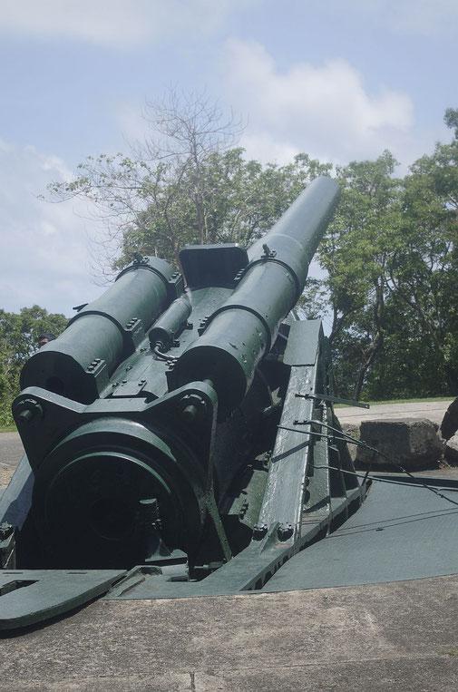 Battery Hearn , das größte Geschütz auf Corregidor. Es konnte bis nach Manila ( 48km ) schießen .