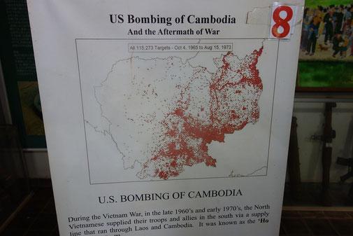 Erschreckend wie viele Bomben über Kambodscha währens des Vietnamkrieges abgeworfen wurden