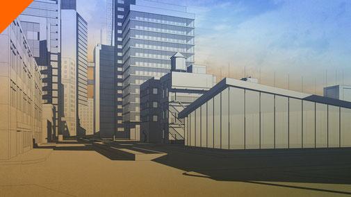 Pruebas de ciudad mediante capas 3D. Proyecto propio. 2013