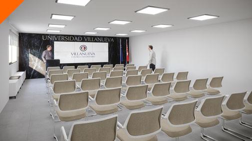 Render 3D aula de facultad. Universidad Villanueva.