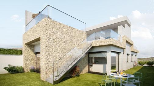 Vivienda unifamiliar en Guadalajara para Blazquez Arquitectura. Interiores y exteriores 3D