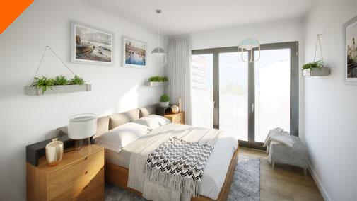 Render 3D interior dormitorio. Arquitectura residencial. Campiña Residencial by Urbas en Guadalajara.