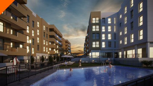 Render 3D Arquitectura. Nocturno. Proyecto residencial Aviva by Quabit