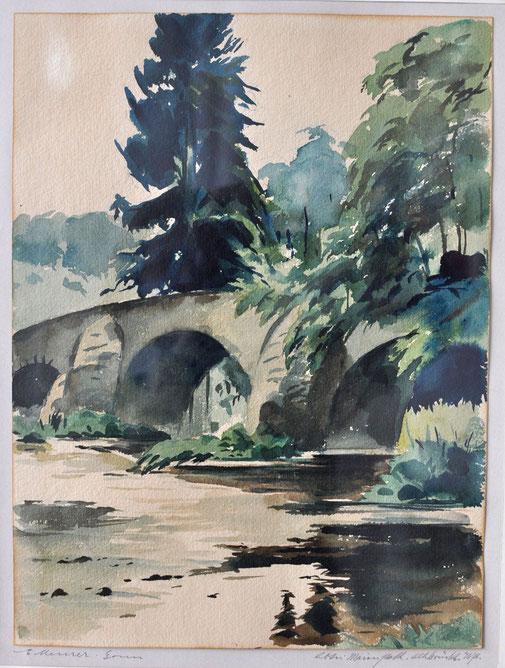 Ernst Meurer Brücke Abtei Marienstatt Aquarell auf Papier auf Papier signiert