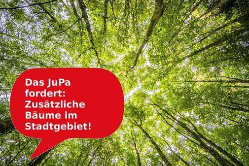 Die Grafik zeigt eine Baumkrone, das Jugendparlament macht sich für mehr Bäume in Erlangen stark.