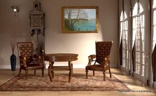 Landschaftsgemälde Birke am See in einem Wohnraum präsentiert.
