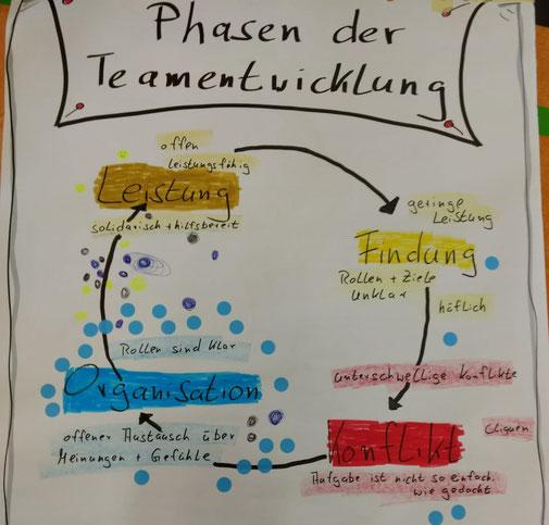 Phasen der Teamentwicklung am Beispiel der Teamuhr, Sport-/Teamcoaching