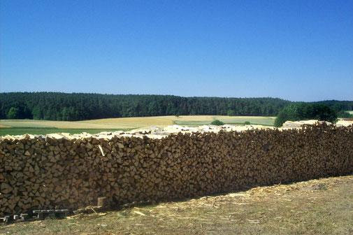 Brennholzlagerung in Mühlendorf bei Bamberg
