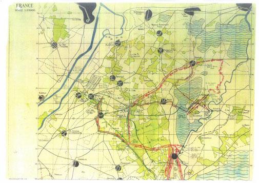 Carte détenue par un parachutiste dont la mission était de rejoindre Bavent