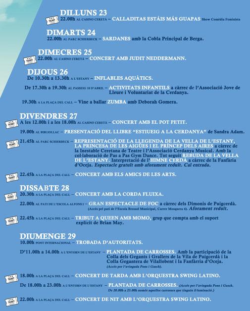 Festa de l'estany de Puigcerdà 2021 - Agenda