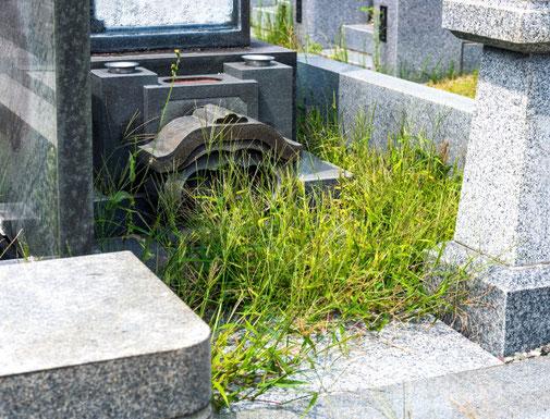 墓石草木の手入れ