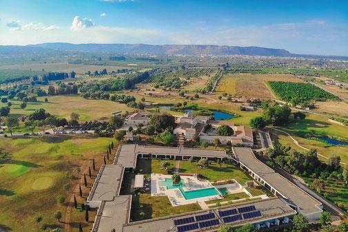 Bauernhof restauriert Sizilien, Golfplatz, Golf Club Monasteri, Green, Masseria