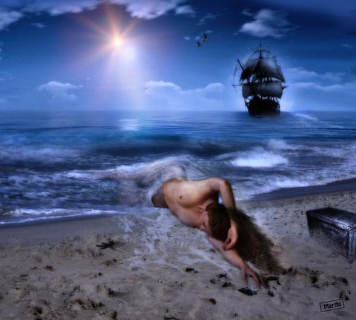 Arropada por el mar