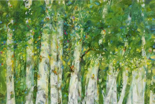 Titel: Sommerfunkeln • Format:  100 cm x 76 cm • Acryl auf Leinwand