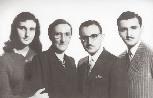 Rubinson family 1948 family photo Buenos Aires. Roda Rubinson and his three children: Rebeca, Lázaro and Hilel in Buenos Aires where the three were studying.