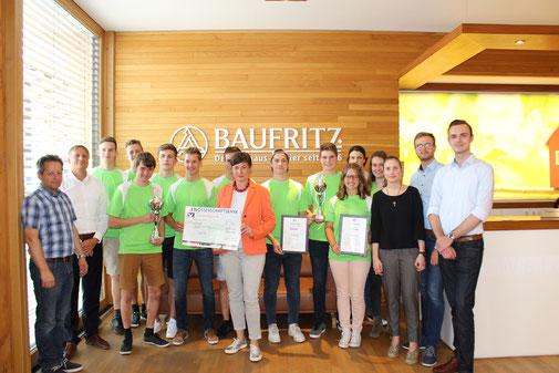 Spendenübergabe Azubilauf, Junge Union Unterallgäu, Firma Baufritz, Kinderbrücke Allgäu e.V.