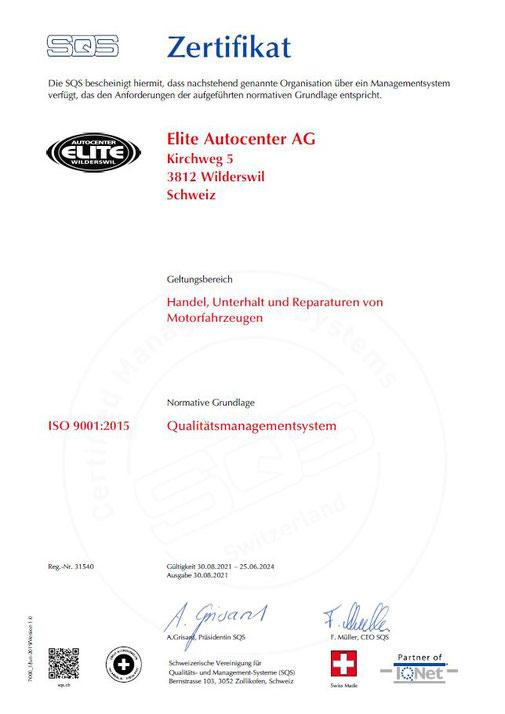 ISO Zertifizierung - Elite Autocenter AG - Wilderswil