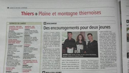 article de La Montagne pour le soutien au projet de Margaux Chastenet
