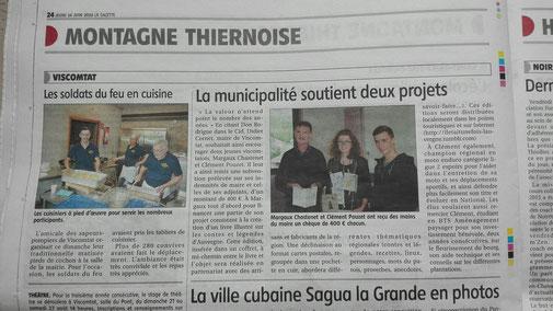 article de La Gazette Thiers-Ambert pour le soutien au projet de Margaux Chastenet