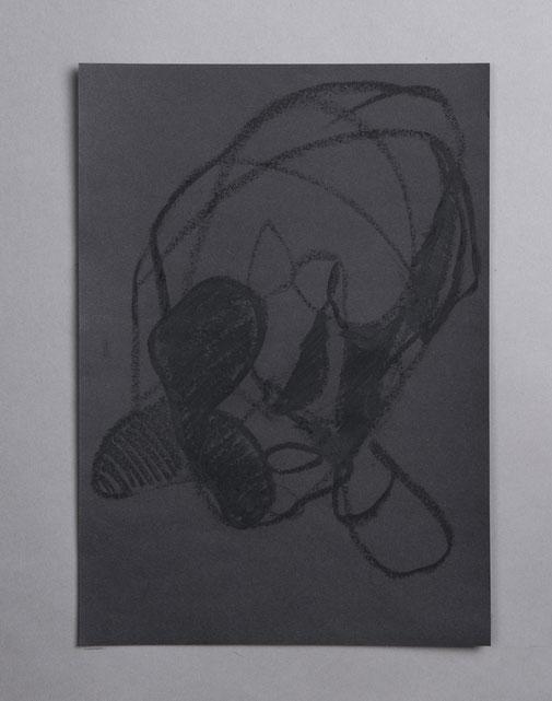 Auswahl der Serie SchwarzAufSchwarz: 60x40cm ; Ölkreide und Buntstift auf Papier