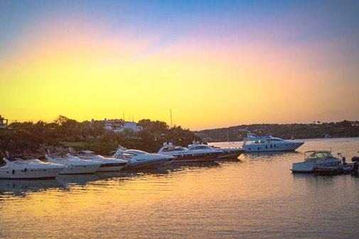 Italien, Sardinien, Die Traumreiser, Porto Cervo, Hafen, Sonnenuntergang