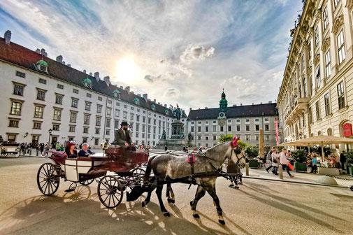 Wien, Vienna, Österreich, Die Traumreiser, Hofburg, Fiaker, Pferdekutsche, Pferde, Kutsche