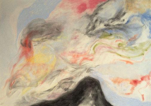 z.t., 2017. Houtskool en pastelkrijt op papier, 100x70cm.