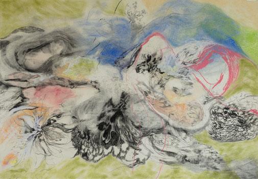 Mountains and sea, 2017. Houtskool, aquarel en pastelkrijt op papier, 100x70cm.