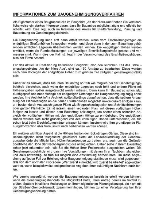 Informationen der Stadt Korschenbroich zum Baugenehmigungsverfahren