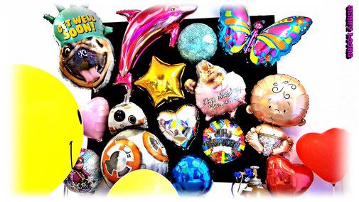Folienballons - Happy Birthday - Get well soon - Butterfly - Baby - Stars - Dolphin - Star Wars - Frozen