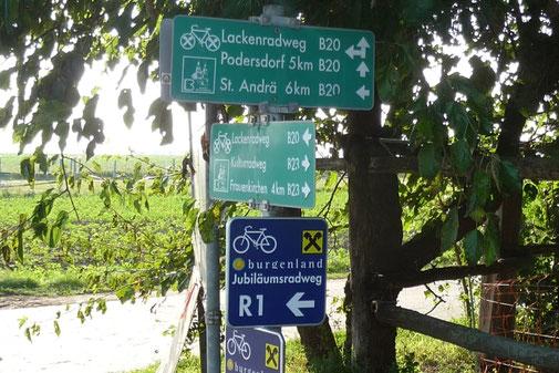 Radweg direkt beim Reithof Althof im Burgenland nahe dem Neusiedler See
