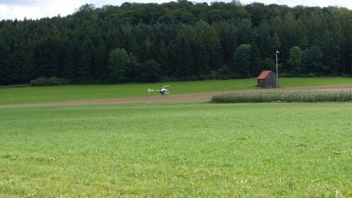 Gerade noch gesehen: Hubschrauber startet in Aufhausen
