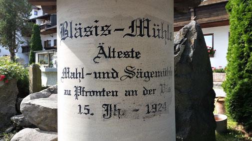 Die älteste Mühle in Pfronten liegt direkt am Radweg...