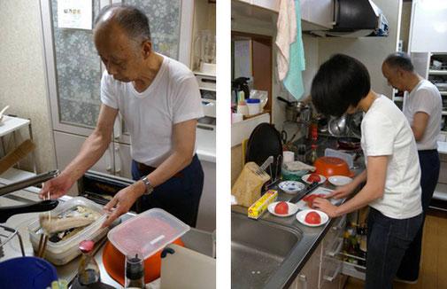 焼き魚をつくる福田さん         ちゃんとお手伝いします。