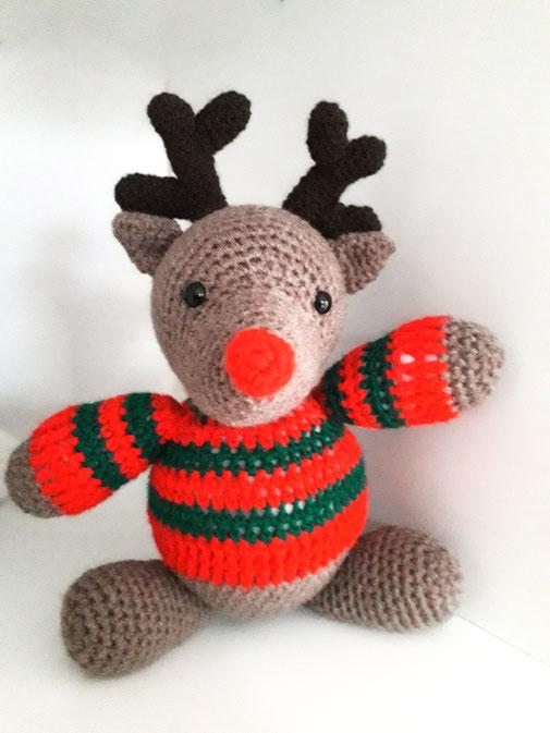 Gehäkelter Rudolph in verschiedenen Variationen