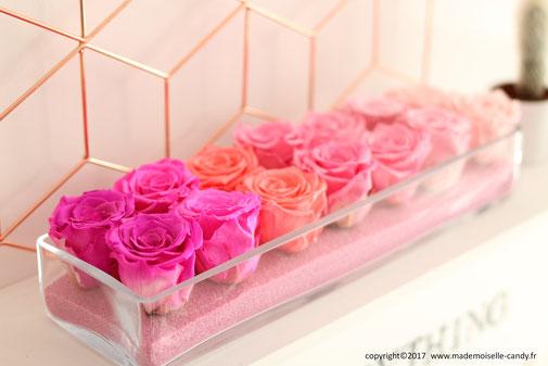 Bouquet composition roses stabilisées (roses éternelles)