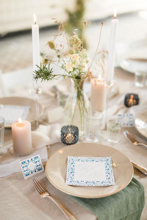 Tischdekoration Mediterrane Hochzeit Menükarte Leinentischdecke